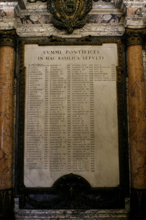 This List is at St. Peter's Basilica at the Vatican - it is actually a burial list
