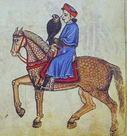 "Frederick II on Horseback with falcon - from 13th Century manuscript ""The Art of Hunting with Birds"""