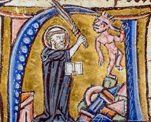 """Augustine of Hippo Refuting Heretic,"" 13th-century illuminated manuscript, Morgan Library, New York SOURCE: http://www.princeton.edu/~heresy/"