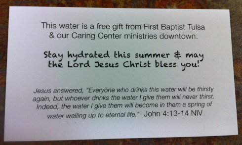 The front side of card we hand out with the water that tells the recipient what the LWP all about.