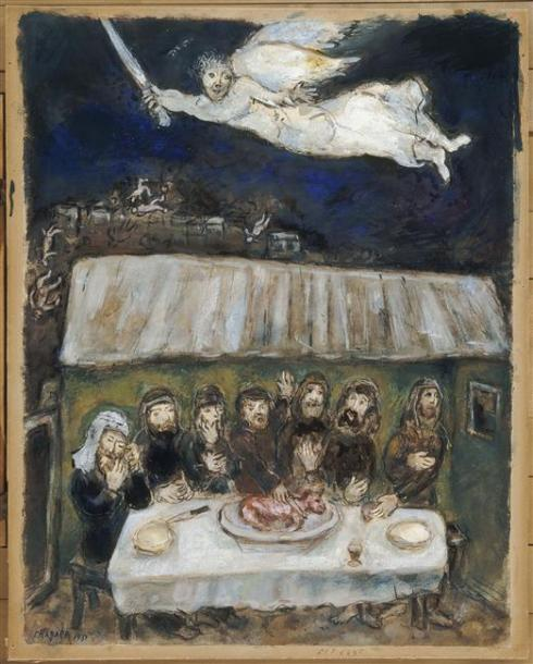 Marc Chagall, The Israelites are Eating the Passover Lamb, Paris, 1931