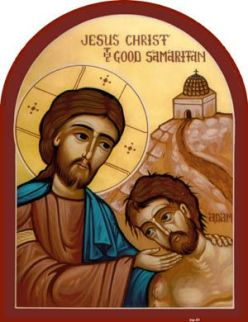 Jesus as Good Samaritan and Wounded Man as Adam