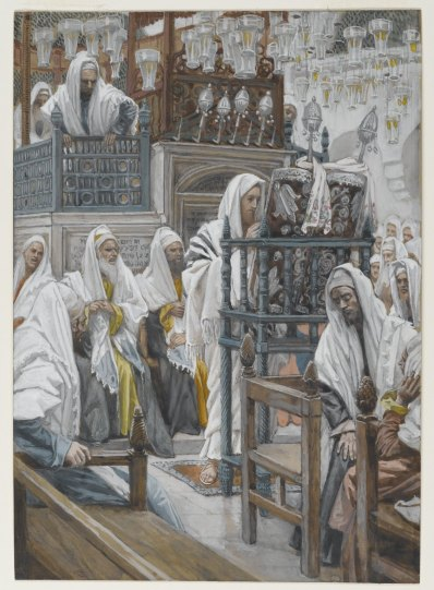 jesus-reads-in-synagogue Luke 4 Tissot